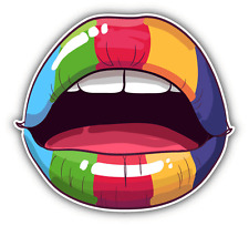 "Lips Rainbow Car Bumper Sticker Decal 5"" x 5"""