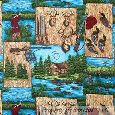 BonEful Fabric FQ Cotton Quilt Log Cabin Camp Lake Water Fish Duck Deer VTG Hunt