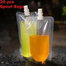 20x 250ML 8Oz Plastic Spout Alcohol Flask Bladder Bags  Pouch Leak Proof w/ Cap
