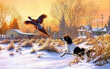 Hounds Chasing a Pheasant oil painting Picture Printed on canvas 16X24 Inch