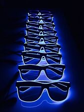 10 x Pairs Blue Neon Sunglasses Bulk Buy Job Lot Stag Do Party LED Pack Joblot