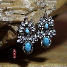 Boucles d`Oreilles Bleu Turquoise Vintage Style  Original Mariage Cadeau BB 2