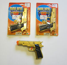 "2 NEW GOLD TOY CAP GUNS 7"" POLICE PISTOL DETECTIVE REVOLVER FIRES 8 RING CAPS"