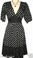 SIZE 10 40'S WW2 LANDGIRL TEA DRESS VINTAGE STYLE RETRO STRETCHY # EU 38 US 6