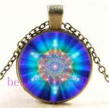 Vintage Flower of life Sacred Geometry Cabochon Glass Bronze Necklace