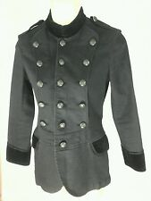 RALPH LAUREN  Rugby Collection Black  Denim Velvet Military Jacket Women's Sz 0