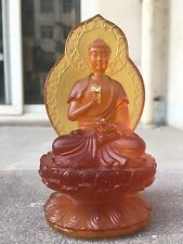 Amber Color Medicine Buddha With Back Light/Art Colored Glass/Crystal Sculpture