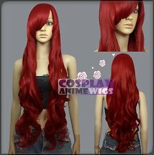 100cm Dark Red Heat Styleable Curly Wavy Long Cosplay Wigs N_DDR