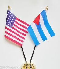 United States of America & Cuba Double Friendship Table Flag Set
