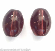 20 Amethyst Crystal Glass 16x12mm Oval Beads