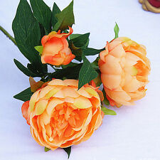 Artificial Silk Peony Flowers 3 Heads Bridal Hydrangea Party Wedding Decor Home