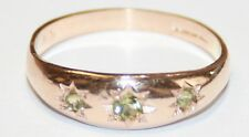 9ct Rose Gold 3-Stone Peridot Gypsy Set Ring Size M 1/2 * NEW *