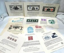 United States Dept of Treasury Bureau of Engraving and Printing show cards
