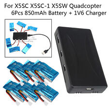 US STOCK!6pcs 3.7V 850mAh Battery+Charger Set For Syma X5SW X5SC RC Drone Quad