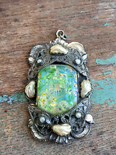 Antique Pendant Green Opal Czech Glass Chinese Letters Silver Plate Pearls
