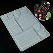 3D Christmas House Fondant Chocolate Mould DIY Cake Decor Cutter Plastic Mold