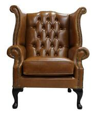 Chesterfield Armchair Queen Anne High Back Wing Chair Old English Saddle Leather