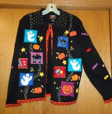 Womans sz S - Black Halloween themed SWEATER - Studio Treats -  a design on back