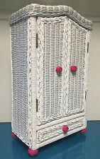 Hot Pink / White Rattan Closet for  American Girl Dolls To Storage Clothes