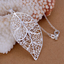 Cute NF 925 Silver Plated Leaf Necklace Pendant 5.7*2.9CM