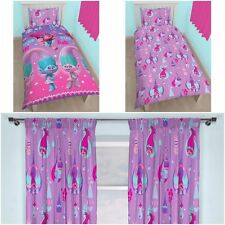 "SINGLE BED GIRLS TROLLS GLOW DUVET COVER BED SET & MATCHING 66"" X 72"" CURTAINS"