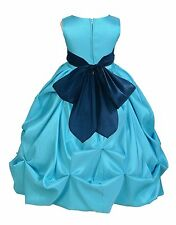 POOL/TURQUOISE FLOWER GIRL DRESS PAGEANT TAFFETA WEDDING BRIDESMAID TODDLER KIDS