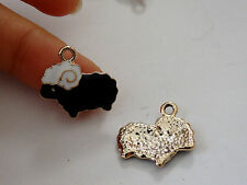 5 sheep charms pendant enamel UK wholesale