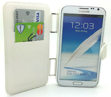 Elegant White Leather Wallet Flip Case Cover Samsung Galaxy Note II Note 2 N7100