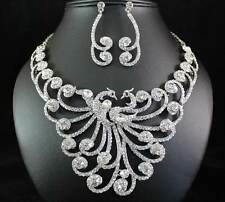 PHOENIX CLEAR AUSTRIAN RHINESTONE CRYSTAL NECKLACE EARRING SET BRIDAL PROM N1870