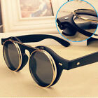 Steampunk Goggles Glasses Round Sunglasses Emo Retro Vintage Flip Up Cool Punk S