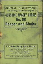 SUNSHINE MASSEY HARRIS No 6B REAPER & BINDER OPERATORS MANUAL