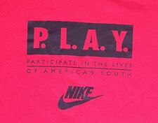 Vintage 90s NIKE T-Shirt PLAY Participate Lives Americas Youth Gray Tag Red XL