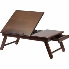 Lap Desk Bed Tray with Drawer Notebook Laptop Foldable Wood Table Breakfast