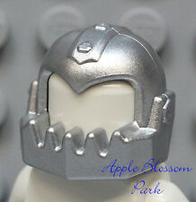 NEW Lego Metallic Silver HELMET -Break Jaw Agent Castle Knight Minifig Head Gear