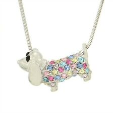 "Dachshund DOG W Swarovski Crystal Puppy Pet Multi Color Necklace Gift 18"" Chain"