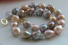 Natural 19mm Multicolor Baroque Edison Reborn Keshi Pearl Necklace 14k #f2446!