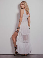 NWT Last White! Embroidered Lace Cotton Bohemian Buttonfront Maxi Dress Sz S Xs