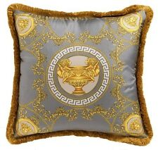 "VERSACE Medusa Baroque Pillow - 17.7"" - Grey/Gold"
