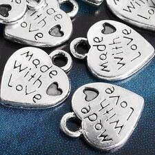 50 BRELOQUES PERLES COEUR Made With Love PLAQUE ARGENT