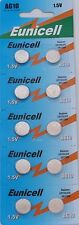 10 X EUNICELL AG10 LR54 189 LR1130 389 ALKALINE BUTTON/COIN CELLS BATTERIES