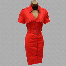 Rare Karen Millen Orange Military Safari Trench Shirt Style Pencil Dress 8 UK