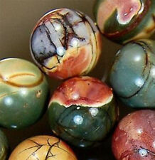 """NATURAL 8MM MULTICOLOR PICASSO JASPER GEMS ROUND BALL LOOSE BEAD STRAND 15"""""""