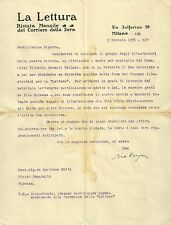 Lettera Autografo Fotogiornalista Orio Vergani Rivista La Lettura a Setti 1936