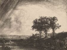 REMBRANDT VAN RIJN DUTCH THREE TREES OLD ART PAINTING POSTER PRINT BB6310A
