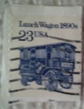 1990 Scott 2464 U. S. Lunch Wagon 1890's one used 23 cent stamp on paper