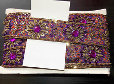 purple Jewel Sequin Indian wedding  cake dance costume ribbon mesh rhinestone