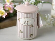 KATIE ALICE Cottage Flower SUGAR CANISTER Shabby Chic STORAGE JAR Creative Tops