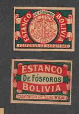 Ancienne étiquette  allumettes Suède Bolivie  GH92    Estanco Monnaie