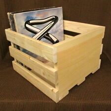 14'' CRATE Vinyl LP Record Storage Box Solid Pine Wood Holds 55 Lps Made in MASS