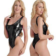 Sexy Womens Shiny One-Piece Swimwear Bikini Swimsuit Yoga Leotard Thong Bodysuit